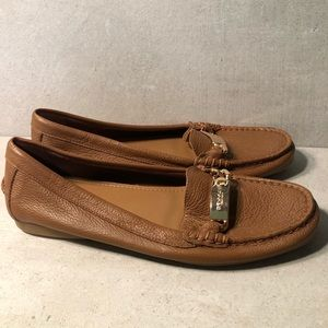 Coach Olive Shoes A7751 Saddle Brown Loafers 9B